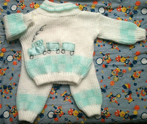 Knit Train Outfit 6-9 Months