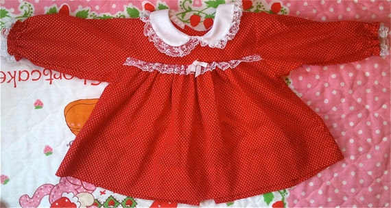 Red and White Dotted Swiss Dress