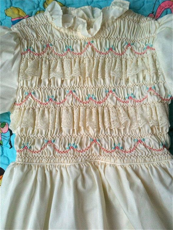 Vintage Smocked Dress Girls 5/6