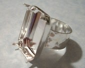 Silver Adjustable Hammered Band Ring Blank with 25 x 18 mm Octagon Setting