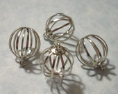 4 Silver Bird Cage Charms 15mm Bead Cage Pendants