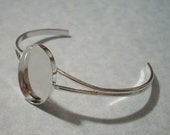 Sterling Plated Adjustable Cuff Bracelet with 25 x 18mm Setting