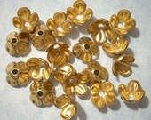 10 Raw Brass Flower Bead Caps - 13mm x 8mm