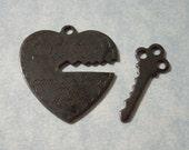 He Who Holds the Key Heart Pendant Black Patina Engraved Heart Charm Key Charm