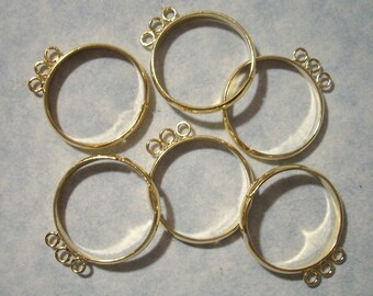 6 Gold Bling Rings with 3 Loops Adjustable Rings Add a Charm