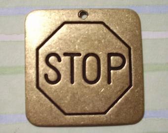 Oxidized Brass Stop Sign Pendant