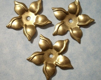 3 Brass Flower Stampings with Center Hole 31mm