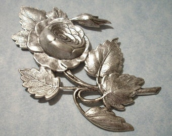 Large Silver Rose Stamping 82mm Brass Stamping Focal Point Top Drill for Necklace Pendant 3 inch length