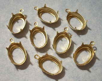 8 Raw Brass 14mm x 10mm Oval Open Back Cabochon Settings with Top Ring