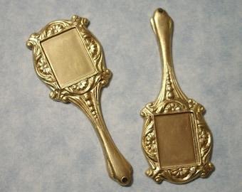 2 Raw Brass Mirror Charms