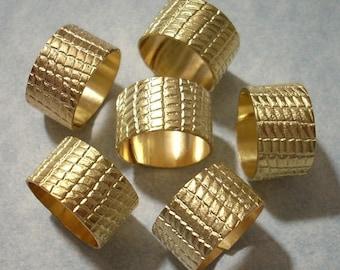6 Brass Alligator Pattern Adjustable Rings Brass Rings Alligator Rings Crocodile Rings