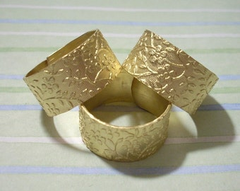 3 Brass Rings Flower Pattern Wide Rings - Ring Blanks Cuff Rings Adjustable Rings