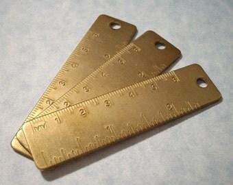 3 Vintage Ruler Pendants