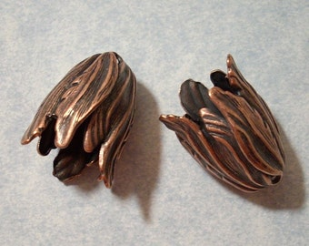 2 Large Antique Copper Blooming Tulip Beads - Jewelry Supplies by Charms Galore