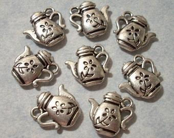 10 Tea Pot Charms 13mm x 13mm Floral Teapot Charms