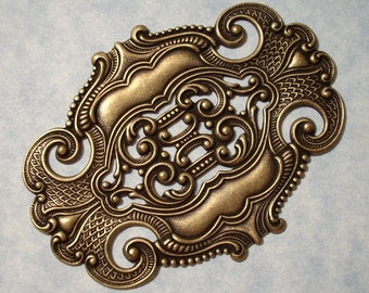 Oxidized Brass Stampings Center Pieces - Art Deco Bracelet Focal 70mm Wide Bracelet Component