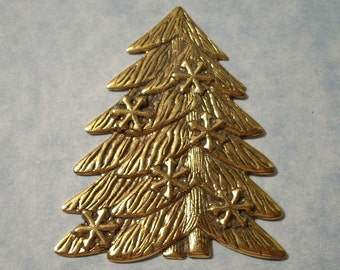Christmas Tree Stamping - 35 x 57mm - Antique Gold