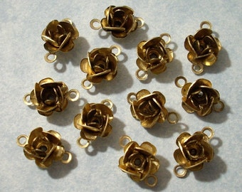 12 Vintage Brass Rose Connectors with 2 rings 8mm