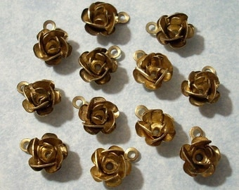 12 Vintage Brass Rose Charms with Top Ring 8mm