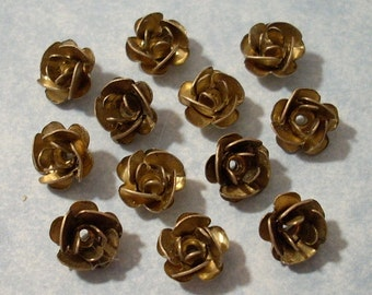 12 Vintage Brass Rose Beads 8mm