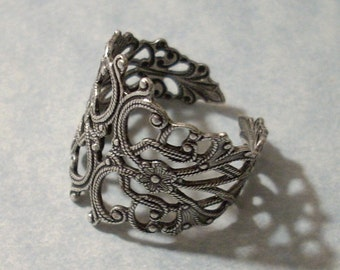 Adjustable Silver Filigree Ring, Silver Ring - 25 Percent Off Multiple Item Purchases (See Item Description)