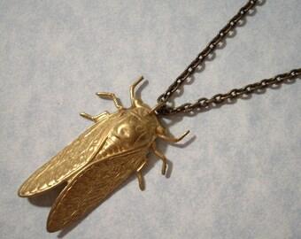 Brass Cicada Pendant Necklace