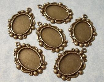 14mm x 10mm Cabochon Settings Necklace Pendant Charms 6pcs