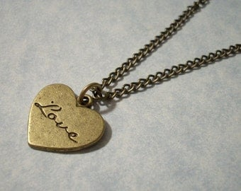 Engraved Love Heart Pendant Necklace
