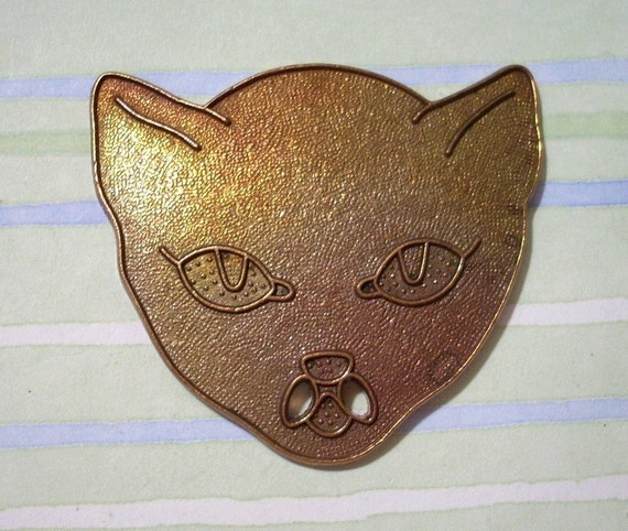 Large Vintage Brass Cat Head