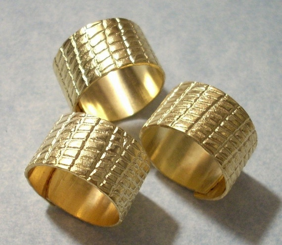3 Brass Alligator Pattern Wide Rings Adjustable Ring Blanks Cuff Rings Midi Rings Jewelry Supplies Charms Galore