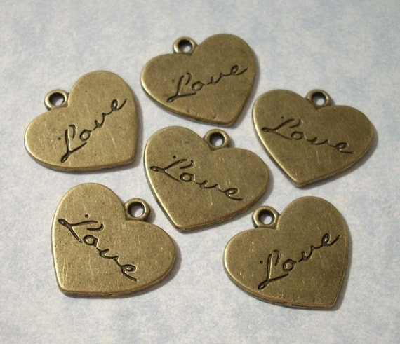 Engraved Love Heart Charms 22mm x 21mm Antique Bronze Heart Pendants (6 pieces)