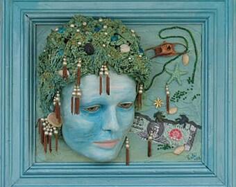 Mannequin Head Art THE PEARL DIVER   Weird mixed Media Wall Art