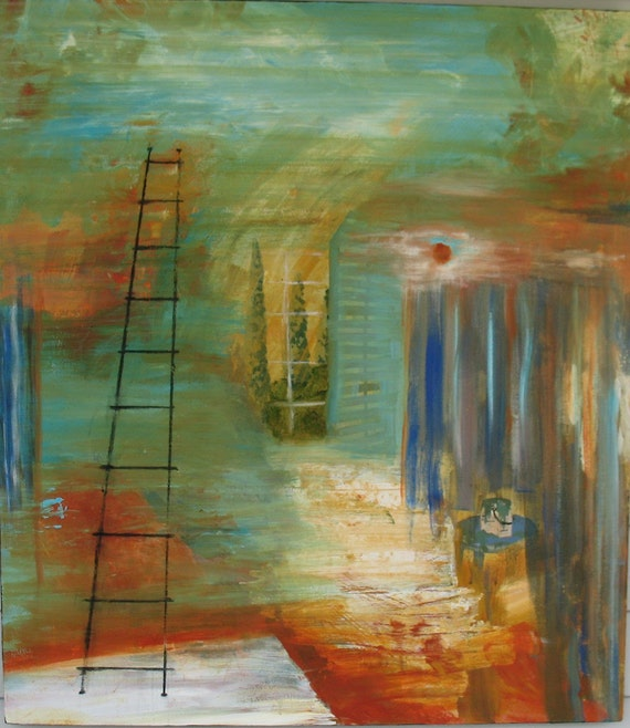 Large Original Abstract Painting 28 x 32 inches RENOVATION  by Kate Ladd