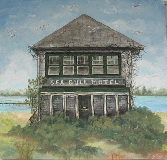 Large Original  Painting 30 x 30 Chincoteague Virginia Sea Gull Motel