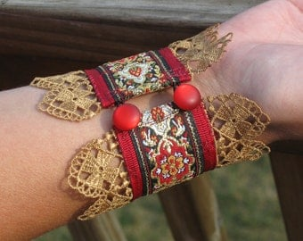 Golden Tapestry Romantic Cuff