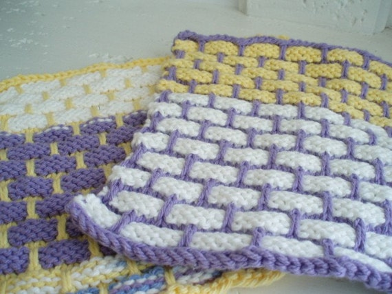 Coordinated Knitted Dishcloths - Set of 2