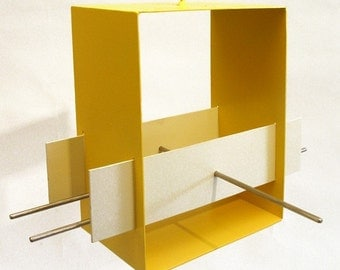 Bird Feeder Cubist Modern in Yellow welded steel