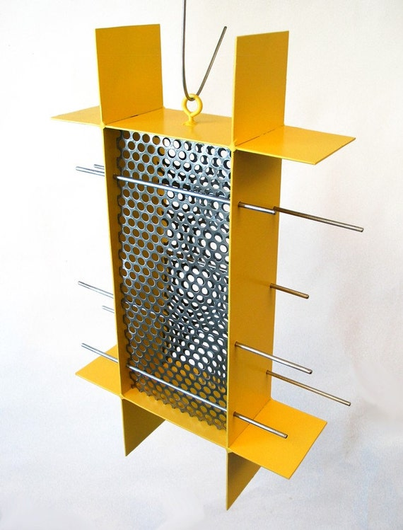 Bird Feeder Sunscreen Sunflower Feeder in Yellow welded steel