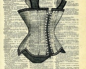TORTURE DEVICE....  print of an original pencil and pen  ILLUSTRATION ON AN OLD DICTIONARY PAGE