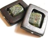 FRAMED-MOSSY Glass/Wood-Earrings