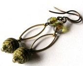 "Special Order : Fabric Earrings Beaded Jewelry ""BASIL"" green plaid"