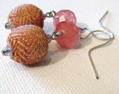 REpurposed Fabric Earrings Beaded Jewelry