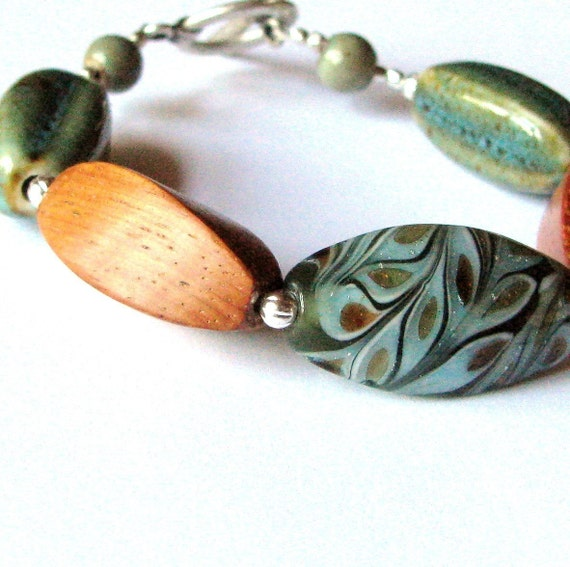 CALM-Glass\/Wood\/Porcelain-Bracelet