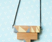Aztec Beige Pastel Grey - Geometric Square and Triangle Wooden T Necklace