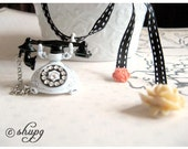 NECKLACE - Retro BLACK AND WHITE dial TELEPHONE rotary phone