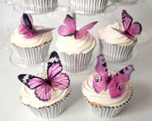 6 x Special Pink 3D Butterflies great for Weddings, Crafts