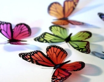 B001 Solid x 12 3D Butterflies for use in Weddings, Decorations and Crafting
