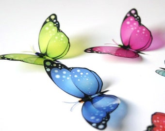 B139 x 12 3D Butterflies for use in Weddings, Decorations and Crafting