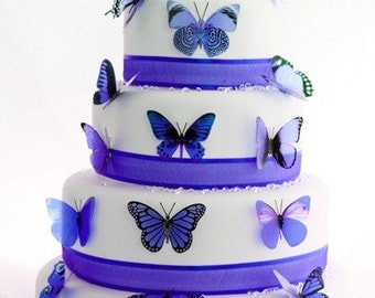 12 pack Lavender Blue Butterflies great for Cake Toppers, decorations, wall art and parties
