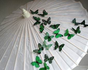 6 pack of Forest Green Butterflies great for decorations, Cake Toppers, table decor or childrens rooms